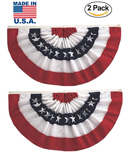 Fan Bunting - GiftExpress 2 Pack MADE IN USA 3 x 6 Ft Stars & Stripes Pleated Fans/American Flag Bunting Outdoor Indoor/July 4 Patriotic Decoration (3 ft x 6 ft)