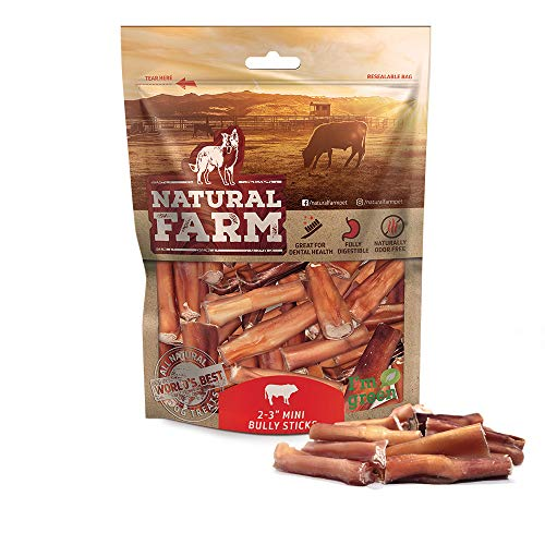 Natural Farm Pet Small Bully Stick Bites 2-3 Inches (1 LB. Value Pack) All-Natural, Farm-Raised Beef Dog Treats | Odor-Free, Grain-Free | Fully Digestible Chews for Small, Medium, Large Breeds ()