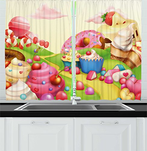 Ambesonne Pink Decor Kitchen Curtains by, Food Theme Sweet L