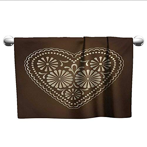 (alisoso Chocolate,Fade-Resistant Towel Romantic Heart Pattern with Dots and Flowers Valentines Day Art Illustration Hotel Pool Towels Brown Beige W 28