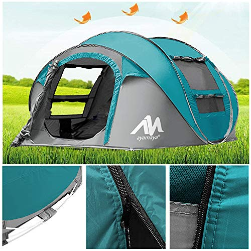 AYAMAYA Camping Tents 3-4 Person/People Easy Up Instant Setup, Camping Gear Waterproof 2 Doors Privacy Automatic Pop Up Big Family Dome Tent Shelter with Carry Bag for Backpacking Picnic - Light Blue