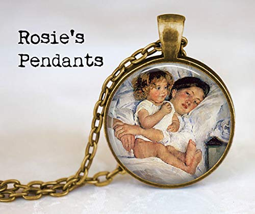 Breakfast in Bed by Mary Cassatt 1897 - Mother and Child - Mom Present - Gift for Mother or Daughter - Cassatt Necklace for $<!--$3.99-->