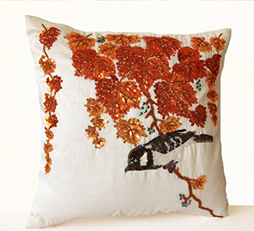 Amore Beaute Handmade Decorative Throw Pillow Case with Colorful Orange Leaves and Bird Embroidered in Sequins and Beads on Ivory Faux Silk - Wedding Anniversary Birthday Housewarming Mother's Day Gift Inspired By Traditional Japanese Design (20