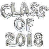 HappyMomentsClub Mylar Balloons Set (Class of 2018 Silver Color)
