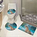 lacencn Tiger 3 Piece Extended bath mat set Feline Beast in Pond Searching for Prey Sumatra Indonesia Scenes Elongated Toilet Lid Cover set Turquoise Pale Brown Black