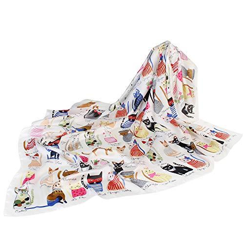 (Satin Silk Scarf For Women Size 90cm90cm Large Square Silk Scarves Print Wraps Head Scarf Hijab Luxury Brand Bandana (FJ-06))