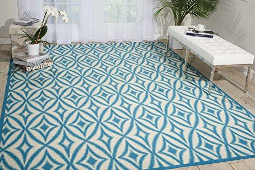 Nourison Wav01/Sun & Shade (SND19) Azure Rectangle Area Rug, 10-Feet by 13-Feet (10' x 13')