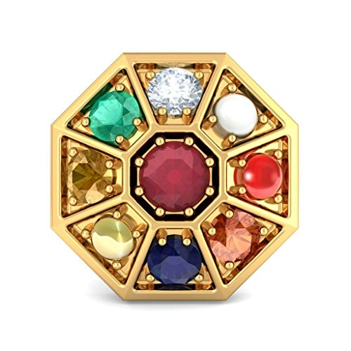 Or jaune 14K 0,06CT TW White-diamond (IJ | SI) et rubis et Navaratna Boucles d'oreille à tige