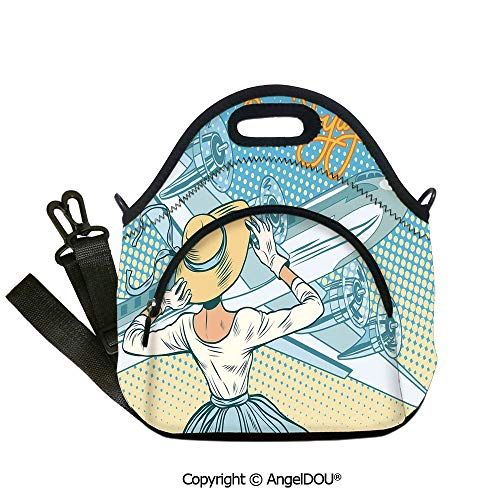 (AngelDOU Going Away Party Decorations Lunch Bag with Adjustable Shoulder Strap Retro Lady Escorts Aircraft Pop Art Style Travel Comic for Adults Kids Boys Girls.12.6x12.6x6.3(inch))