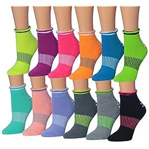 Ronnox Women's 12-Pairs Yoga Socks Non Slip Skid For Pilates Ballet Barre, (sock size 9-11) Fits shoe size 6-9, RY02-AB