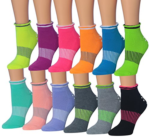 Ronnox Women's 12-Pairs Yoga Socks Non Slip Skid For Pilates Ballet Barre, (sock size 9-11) Fits shoe size 6-9, RY02-AB from RONNOX