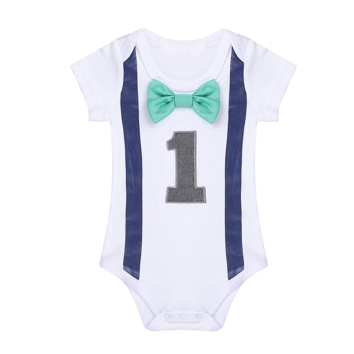 Tiaobug Baby Strampler mit Aufdruck Body weiß Kurzarm Anzug Hemd Fliege Hosenträger Overall 1 Jahr Erster Geburtstag