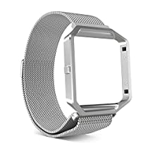 Fitbit Blaze Accessories Band, MoKo Metal Frame Housing + Milanese Loop Stainless Steel Bracelet Strap Band with Magnet Lock for Fitbit Blaze Smart Fitness Watch - SILVER