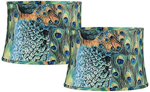 Lamps Print Animal - Set of 2 Peacock Print Drum Lamp Shades 14x16x11 (Spider) - Springcrest