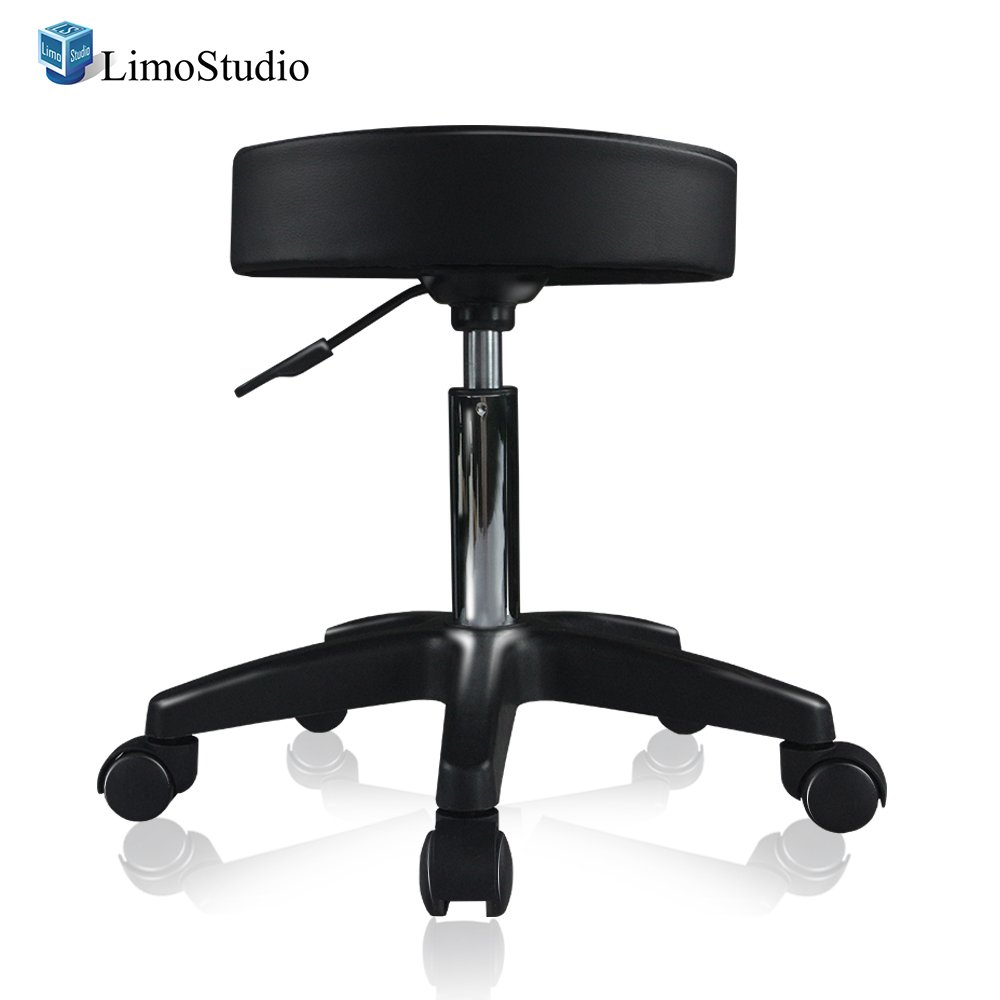 LimoStudio, AGG2236, Photography Posing Prop Stool, Massage and Salon Style Chair, 14 Inch Diameter, Height Adjustable, Caster Wheel Stool with Large Gray Cleaning Fabric Cloth, Photo Studio