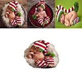Christmas Newborn Baby Photography Props Boy Girl Crochet Costume Outfits Cute Hat Socks Photo Shoot Outfits