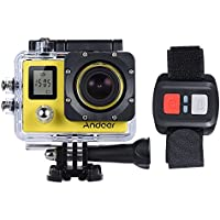 Andoer 4K 30fps/1080P 60fps Full HD 16MP Action Camera Waterproof 30m WiFi 2.0LCD Sports DV Cam Camcorder 170 Degree 4X Zoom Dual Screen Car DVR w/ Remote Control (Yellow)