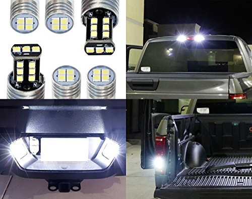 - iJDMTOY Complete 6pcs Super Bright Xenon White LED License Plate, Backup and High Mount Clearance Lights Combo Kit For 2018-up Ford F150, 2017-up F250 F350