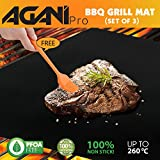 AganiPro Set of 3 Heat Resistant Non stick BBQ Grill Mat, 16 x 13 Inch