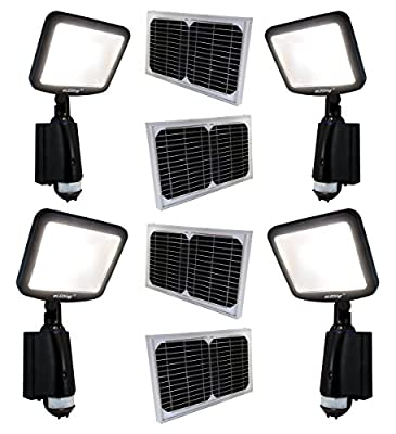 4 Pack LED Dusk to Dawn Outdoor Lighting 8W CREE 28WH Li-Poly Battery 100W Halogen Equiv. for Back Yardence (Black) …