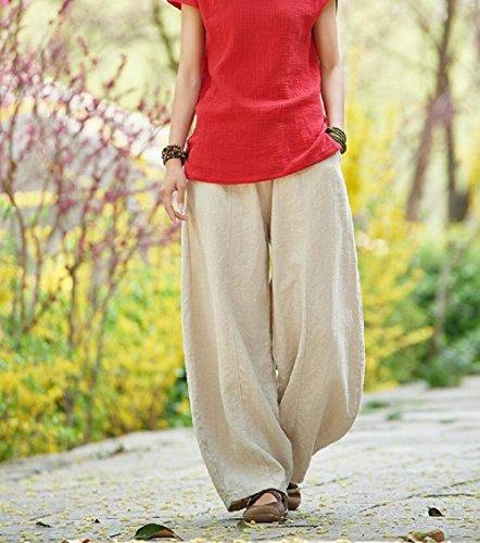 Taille Lazutom Unique Femme Beige Pantalon S4qg4zwxTv