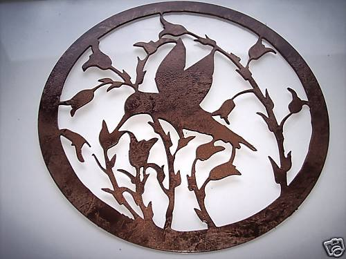 Hummingbird and Flowers Metal Wall Art