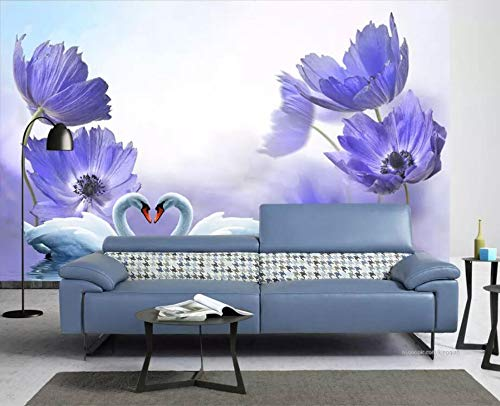 (Wall Mural 3D Blue Dreamy Flower Swan Lake Modern Custom Photo Wallpaper Murals Wall Decor)