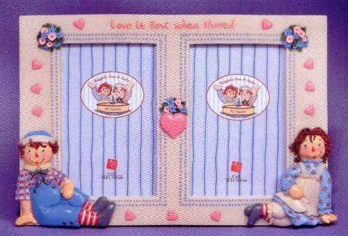 Raggedy Ann and Andy Double Picture Frame by Russ Berrie