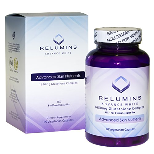 Relumins Advance White 1650mg Glutathione Complex - 15x Dermatologic Formula with Advanced Skin - Defense Anti Radical Age