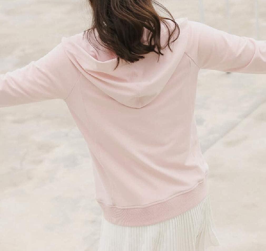 pipigo Womens Sport Long Sleeve Casual Zipper Hooded Sweatshirt