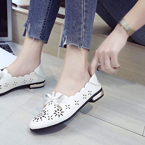 Chaussures Punta Classique Plat Femmes De Subfamily Cuir Blanc Ronde Mocassins Femme Habillées Plates Lace Ballerine Mode Ajourées Ballerines Pour Xp7Xxwq0