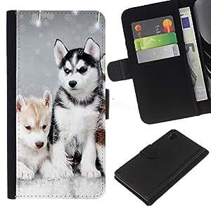 Husky Winter Dog Puppy Canine - la tarjeta de Crédito Slots PU Funda de cuero Monedero caso cubierta de piel Sony Xperia Z4v / Sony Xperia Z4 / E6508