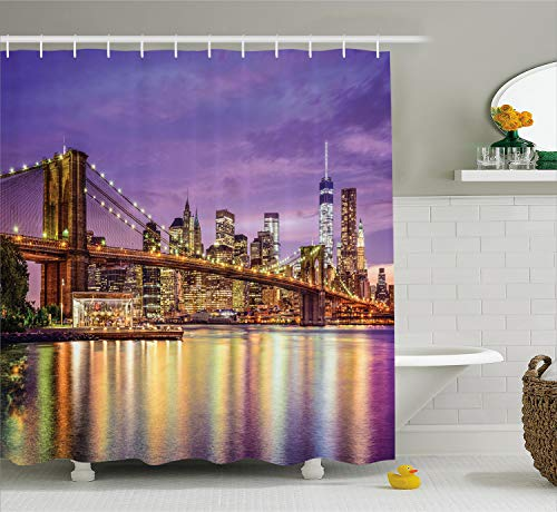 Ambesonne New York Shower Curtain, NYC Exquisite Skyline Manhattan Broadway Old Neighborhood Tourist Country Print, Cloth Fabric Bathroom Decor Set with Hooks, 84