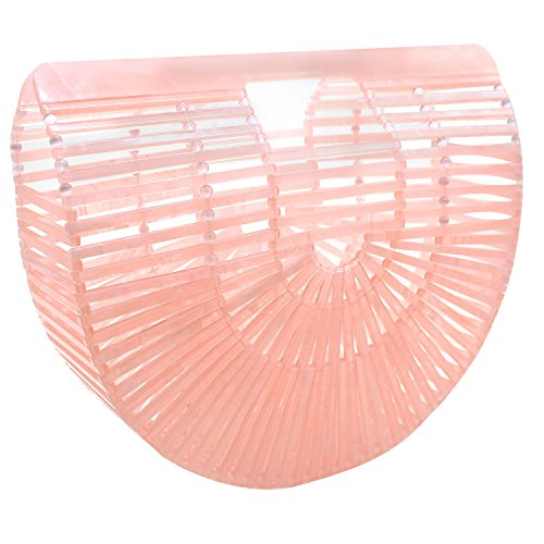 Tortoise Bag - Beauty Womens Ark Bamboo/Acrylic Clutch Handbag Large Tote Bag Beach Bag (Acrylic Pink)