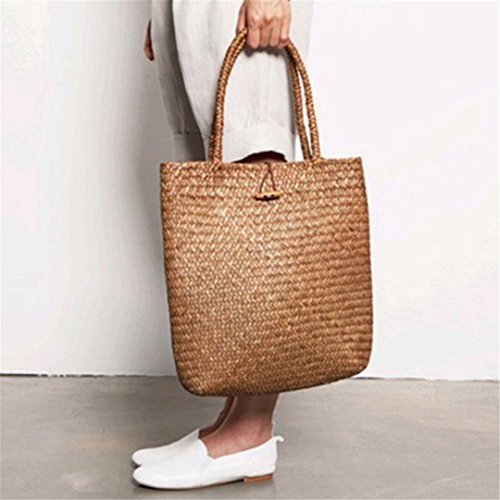 BoBoSaLa ABDB Women Fashion Designer Lace Handbags Tote Bags Handbag Wicker Rattan Bag Shoulder Bag Shopping Straw Bag A by BoBoSaLa