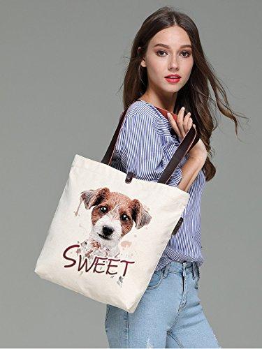 So'each Women's Animal Sweet Dog Graphic Canvas Handbag Tote Shoulder Bag
