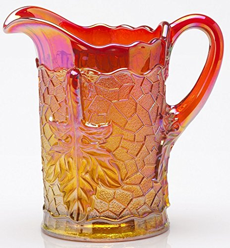 Water Pitcher Maple Leaf Pattern Mosser Glass - Marigold Carnival - Northwood Carnival Glass Patterns