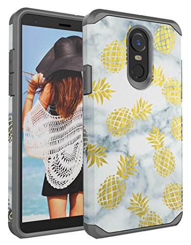 LG Stylo 4 Case, CASY MALL Dual Layer Heavy Duty Hybrid PC+TPU Protect Case for LG Stylo 4 Pineapple Gray