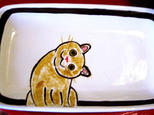 USA hand painted tabby cat medium size platter with handles