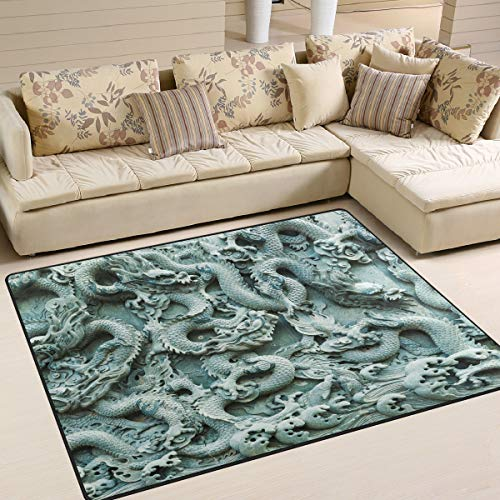 - Carved Chinese Dragon Pattern Area Rug 7' x 5' Carpet Indoor Polyester Non Slip Multi Rectangle Door Mats Kitchen Floor Runner Decoration for Home Bedroom Living Dining Room