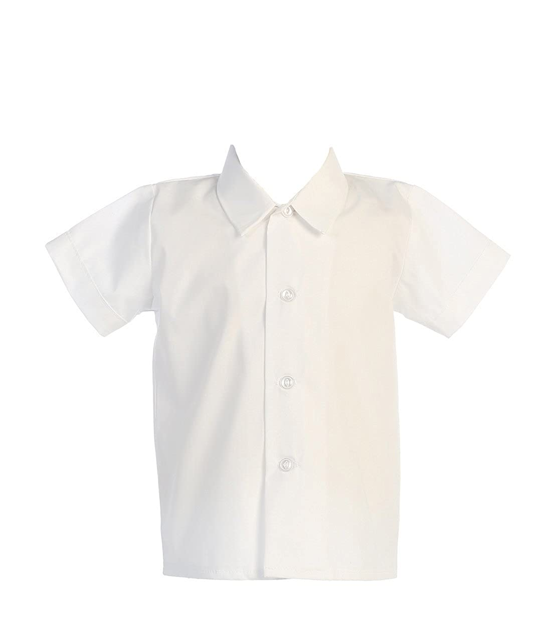 Infant to Toddler Lito Baby Boys Short Sleeved Simple Dress Shirt White or Ivory