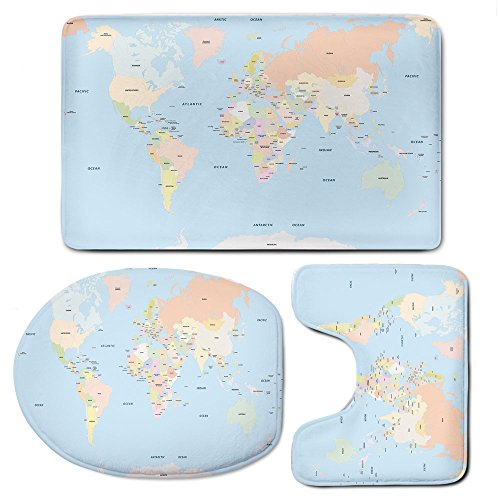 3 Piece Bath Rug Set,Mapfor Bathroom Contour Rugs Combo,Old Fashioned Classical Political World Map Administration Theme Borders Countries Decorative