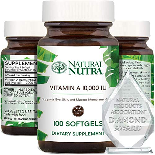 Natural Nutra Vitamin A 10,000 IU, Retinol Palmitate Dietary Supplement from Cod Liver Oil, Extra Strength for Eye, Skin…