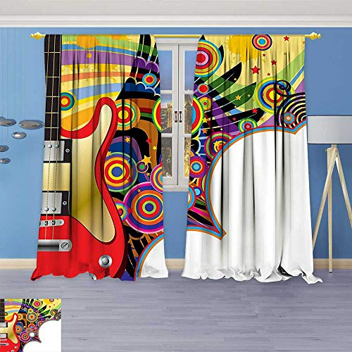 Philiphome Solid Grommet top Thermal Insulated Window Blackout Curtains Guitar with Colorful Spirals Circles Rock and Roll Pop Rhythm Graphic Design Multicolor for Dining (Guitar Triple Deck)