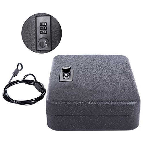 Jssmst Gun Safe Box with Combination Lock - Pistol Case with Security Cable for Car, SM-GB0401L ()