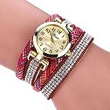 Duoya Women's Gold Tone Crystal Watch Wrap Around Diamond Pattern Band D079