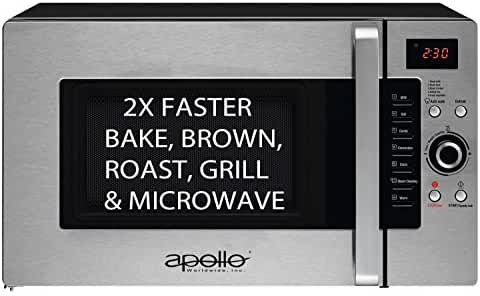 Apollo AD-34-CTS/B, Half Time Convection Microwave, Countertop. More Than a Microwave. Bake, Brown, Roast, Grill, 1.2 Cu.Ft.,1600-Watts.
