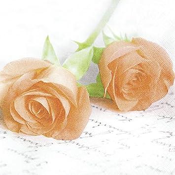 20 Servietten Apricot Roses Edle Orange Rosen Blumen Liebe