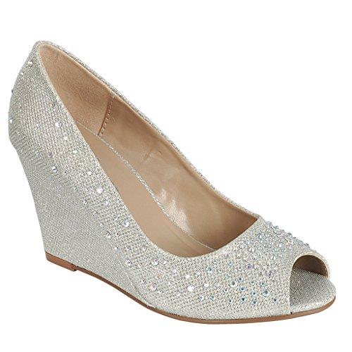 Coshare Women's Fashion Assorted Peep Toe Mid Heel Wedge Pumps, Silver, 8 M