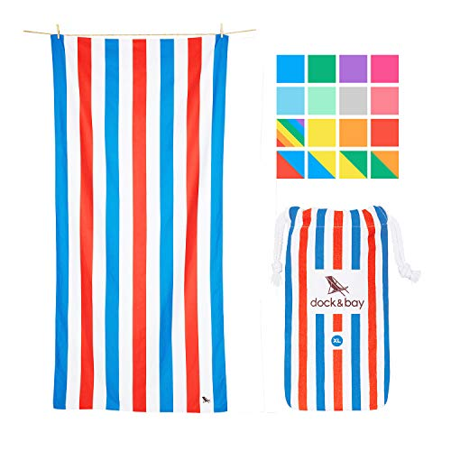 (Dock & Bay Big Beach Towels Quick Dry - American Dream, Extra Large (78x35) - USA Colors Striped, Compact Swim Towel, Pool Towel)